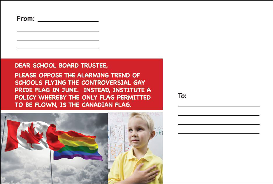 Post card: Don't force homosexual flag on school children.